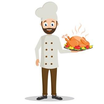 Cocine sosteniendo una bandeja de pavo asado sobre un fondo blanco. día de gracias
