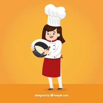Cocinera feliz batiendo crema