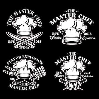 Cocinero chef sombrero logo vector set ilustración