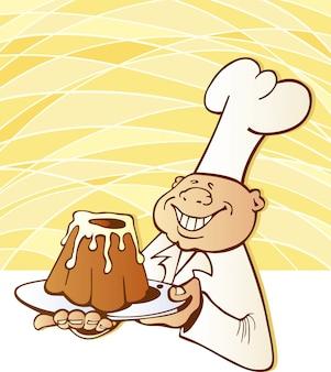 Cocinero cocinero con pastel