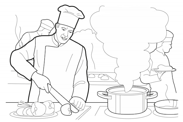 El cocinero corta las verduras en un tablero con un cuchillo.
