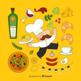 Cocinero e ingredientes