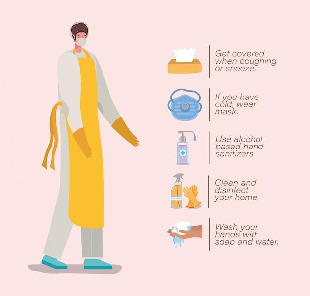 Cocinero con guantes de delantal de máscara y diseño de consejos de prevención