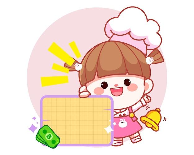 Cocinero lindo feliz de la muchacha que sostiene el ejemplo del arte de la historieta del logotipo de la bandera en blanco