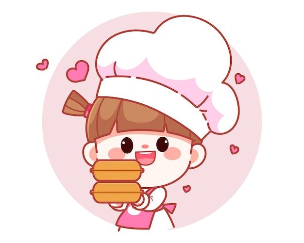 Cocinero lindo feliz de la muchacha que sostiene el ejemplo del arte de la historieta del logotipo de la bandera de la caja de la comida