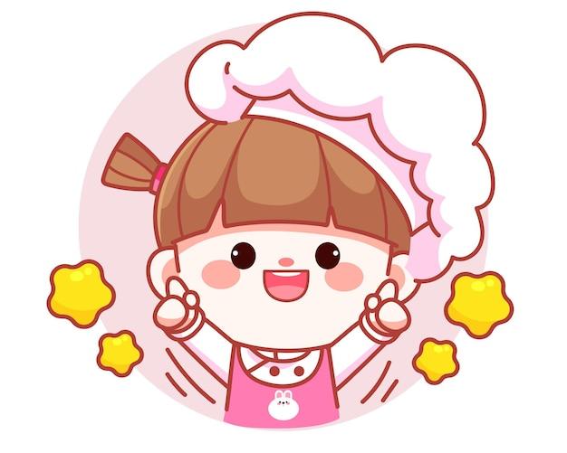 Cocinero lindo feliz de la muchacha que sostiene el ejemplo del arte de la historieta del logotipo de la bandera de la calculadora