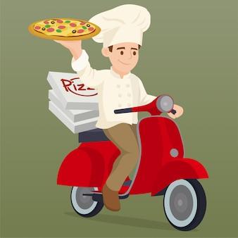 Cocinero montando una moto de entrega scooter