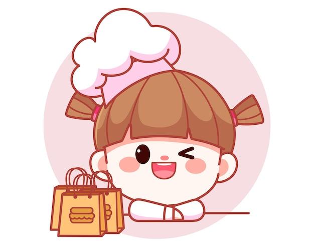 Cocinero de niña linda feliz con bolsas de comida ilustración de arte de dibujos animados de logotipo de banner