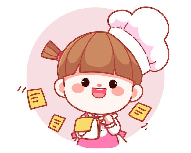Cocinero de niña linda feliz tomando notas en la ilustración de arte de dibujos animados de logo de banner de portapapeles