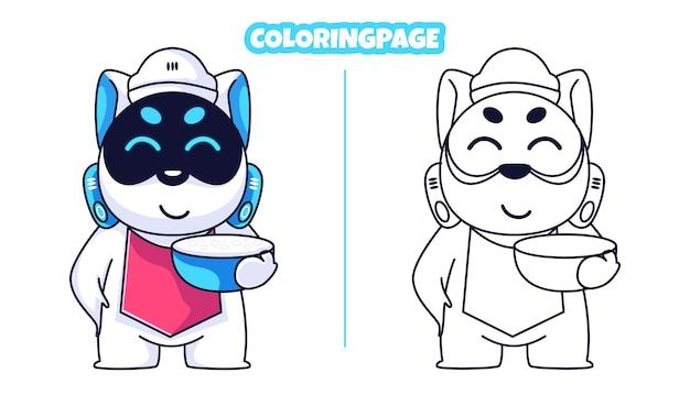 Cocinero robot lindo perro con páginas para colorear
