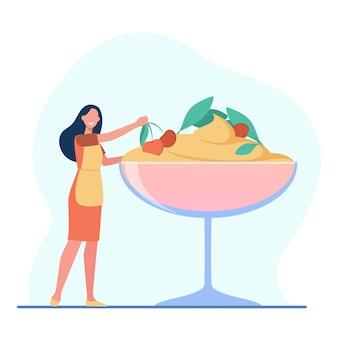 Cocinero de sexo femenino que cocina el postre. helado con frutos rojos, tiramisú, bol de vidrio. ilustración de dibujos animados