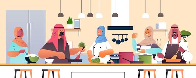 Cocineros árabes preparando platos pueblo árabe cocinando alimentos concepto de escuela culinaria cocina interior retrato horizontal ilustración
