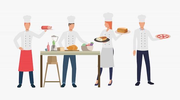 Cocineros cocinando platos en restaurante cocina.