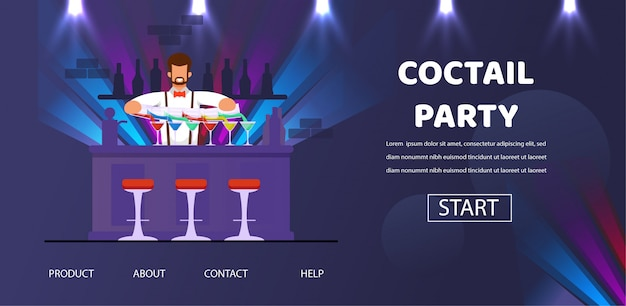 Cocktail party bartender en counter preparar bebidas