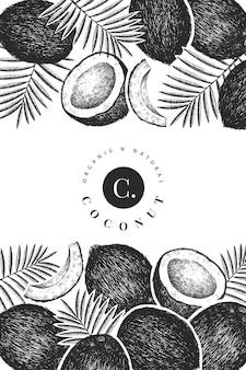 Coco con plantilla de diseño de hojas de palma. ilustración de comida de vector dibujado a mano. planta exótica de estilo grabado. fondo tropical botánico retro.