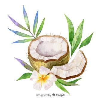 Coco tropical con hojas en acuarela