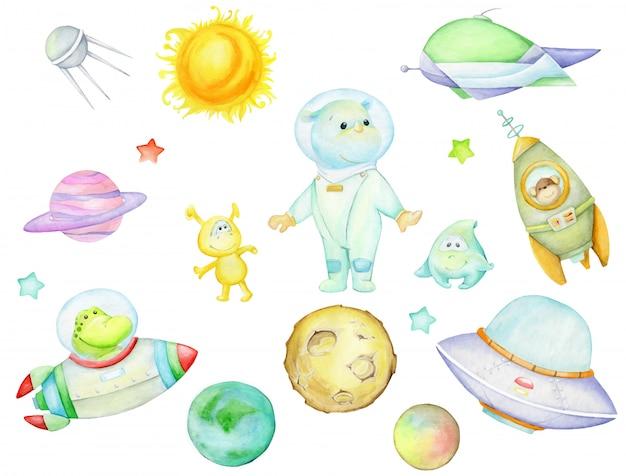 Cocodrilo en un cohete, extraterrestres y planetas, estrellas. asteroide. conjunto de acuarela, dibujado a mano.
