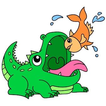 Cocodrilo feroz tratando de cazar peces pequeños, doodle dibujar kawaii. arte de ilustración vectorial