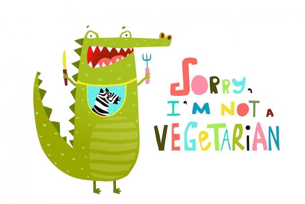 Cocodrilo o cocodrilo hambriento divertido no vegetariano