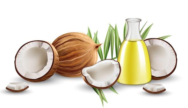 Cocos abiertos enteros y partidos con hojas de monstera y jarra con aceite. realista.