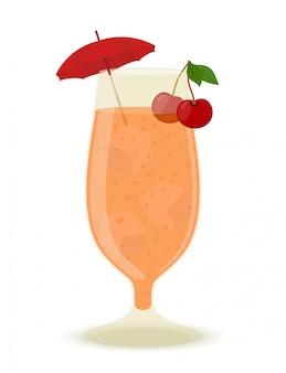 Cóctel de alcohol con hielo, cereza y paraguas.