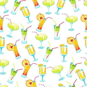 Cóctel alcohólico y bebidas con pajitas de patrones sin fisuras