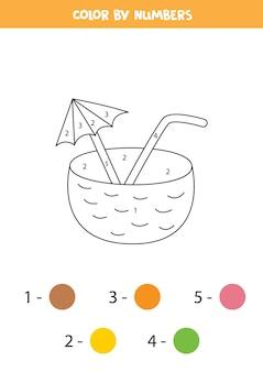 Cóctel de coco de dibujos animados de color por números. hoja de trabajo para niños.