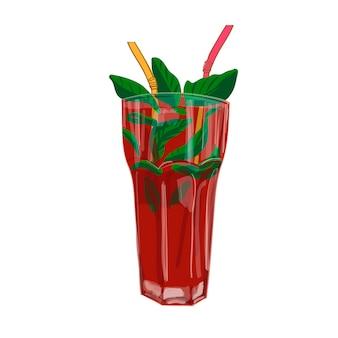 Cóctel de fresa en vaso