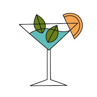 Cóctel de frutas con hielo. ilustración simple. icono de verano