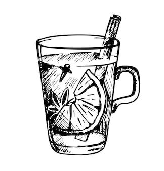 Cóctel de grog caliente estilo de boceto dibujado a mano bebida caliente de invierno u otoño de navidad en un vaso de cupé