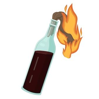Cóctel molotov ardiente. botella de líquido explosivo y mecha de trapo ardiente.