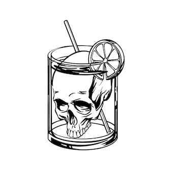 Cóctel mortal con una calavera en un estilo lineal de vidrio. ilustración.