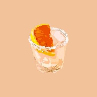 Cóctel de naranja con hielo. ilustración vectorial