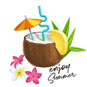 Cóctel de piña colada en coco