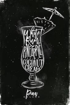 Cóctel de piña colada con letras en estilo pizarra