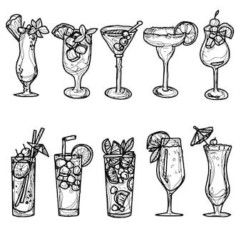 Cóctel set dibujo a mano y boceto en blanco y negro