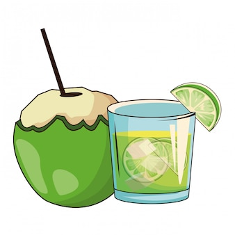 Cóctel de vidrio y cococnut