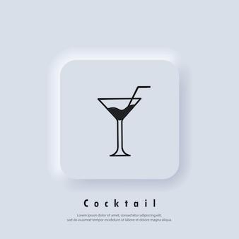 Cócteles alcohólicos. icono de cóctel. logotipo de cóctel. icono de bebida y champán. vector. icono de interfaz de usuario. botón web de interfaz de usuario blanco neumorphic ui ux. neumorfismo