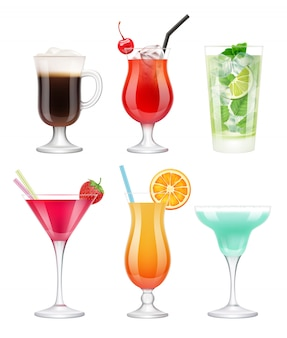 Cócteles alcohólicos. vasos con bebidas frutas tropicales decoradas margarita azul vodka martini plantilla realista