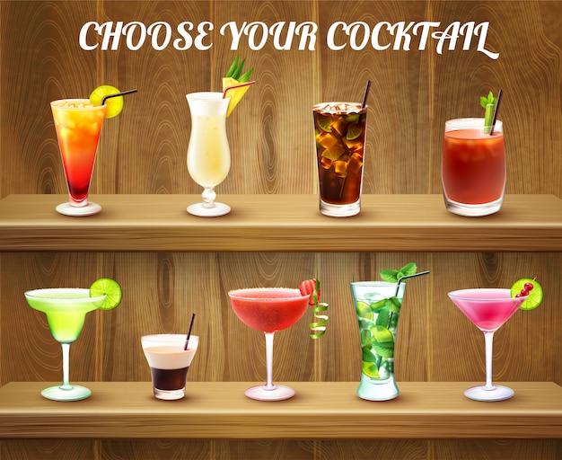 Cócteles en un bar.