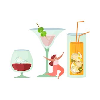 Cócteles de bebidas alcohólicas composición plana con vasos de bebidas alcohólicas con mujer feliz