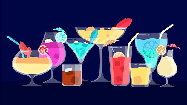 Cócteles bebidas alcohólicas y no alcohólicas. banner de menú de bar o cafetería o restaurante. ilustración de bebidas de tarde y noche. cóctel de alcohol para bebidas de restaurante.