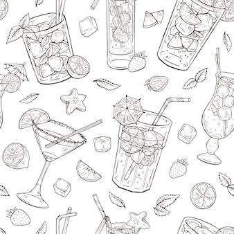 Cócteles dibujados a mano de patrones sin fisuras