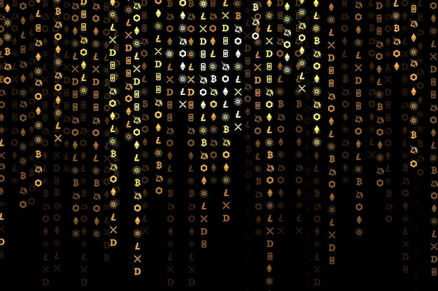 Codificación de criptomonedas vector de fondo digital concepto de cadena de bloques de código abierto