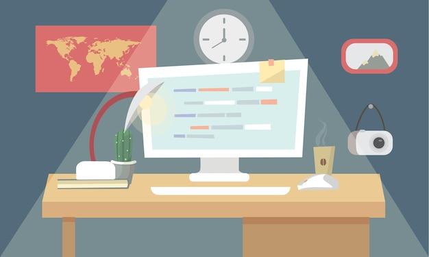 Codificación de programación de usuario en diseño plano con estilo. ilustración.