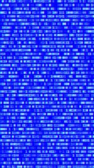 Código binario, dígitos azules en la pantalla del ordenador.