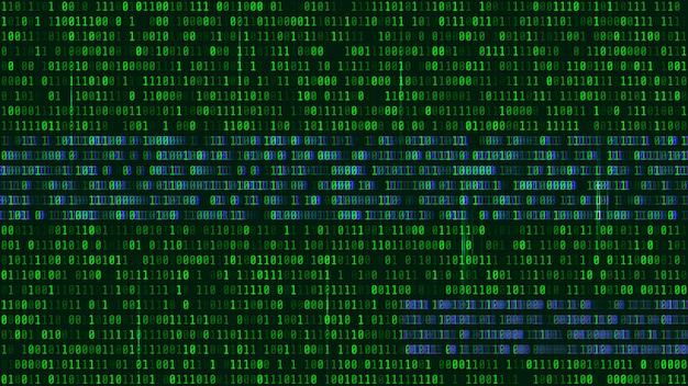 Código binario, dígitos verdes en la pantalla del ordenador.
