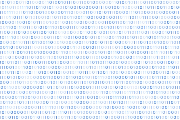 Código binario fondo blanco con números flotantes
