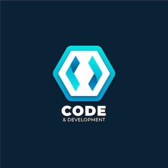 Código degradado y logotipo de desarrollo.