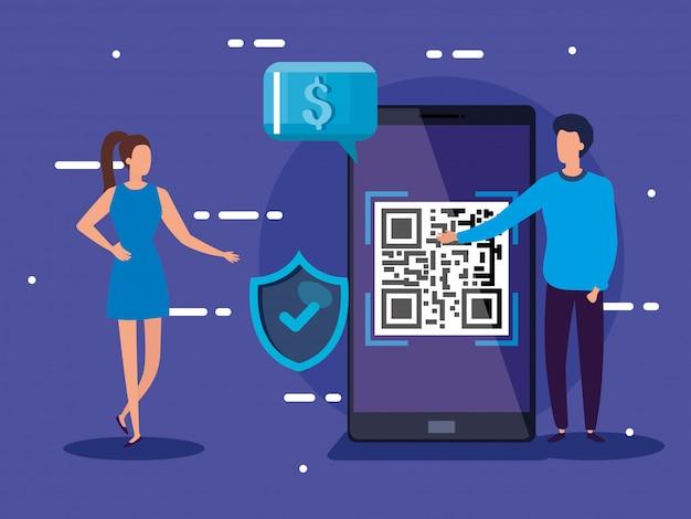 Código de escaneo de teléfono inteligente qr con diseño de ilustración de vector de gente de negocios